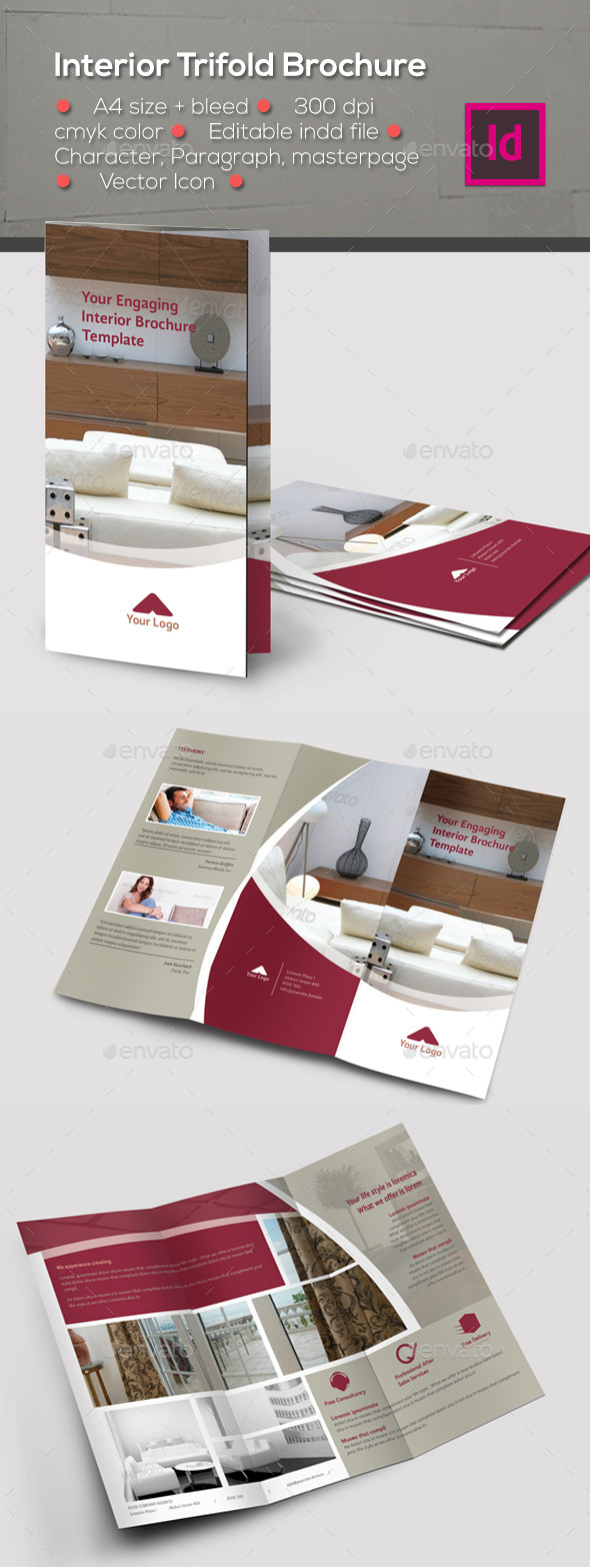Interior Trifold Brochure Template
