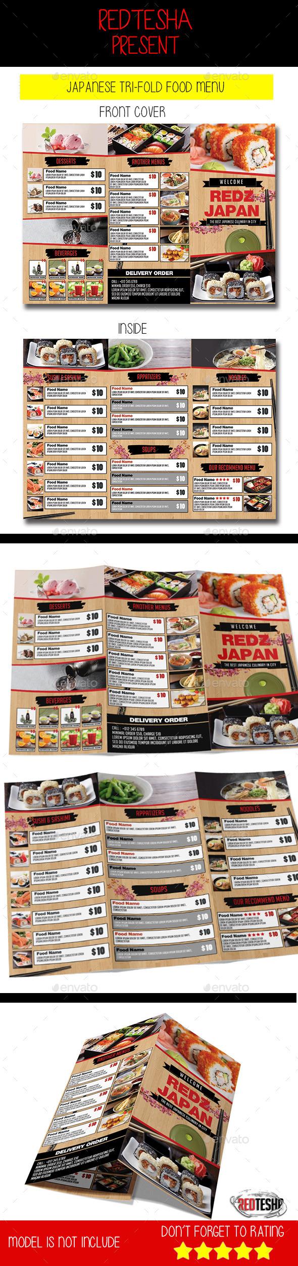 JAPANESE TRI-FOLD FOOD MENU - Food Menus Print Templates