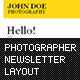 Photographer Newsletter Layout - GraphicRiver Item for Sale