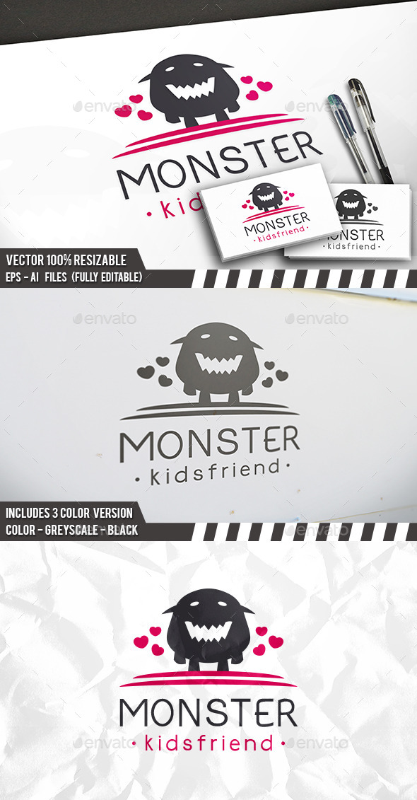 Monster Love Logo - Animals Logo Templates