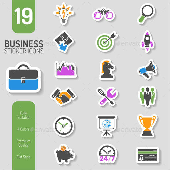 Business Strategy Icon Sticker Set - Concepts Business