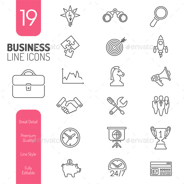 Business Strategy Thin Lines Web Icon Set - Concepts Business