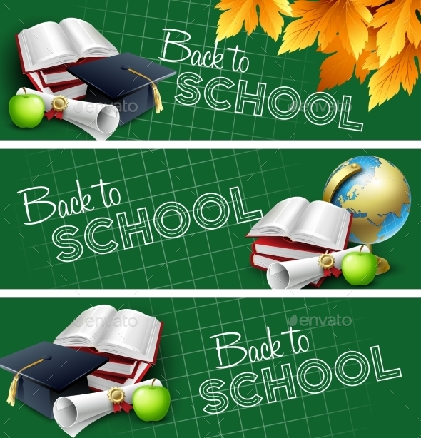 Set Of Back To School Banners. Vector Illustration - Borders Decorative