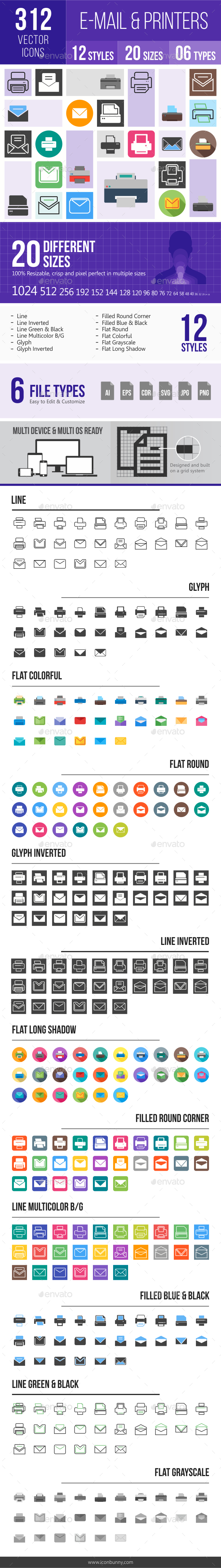 312 Email & Printer - Technology Icons - Icons