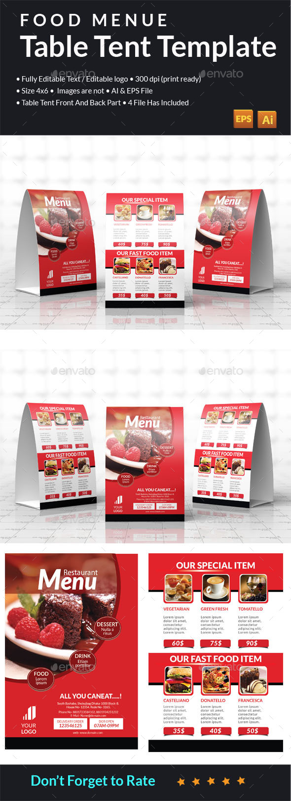 Food Menu Table Tent  - Food Menus Print Templates