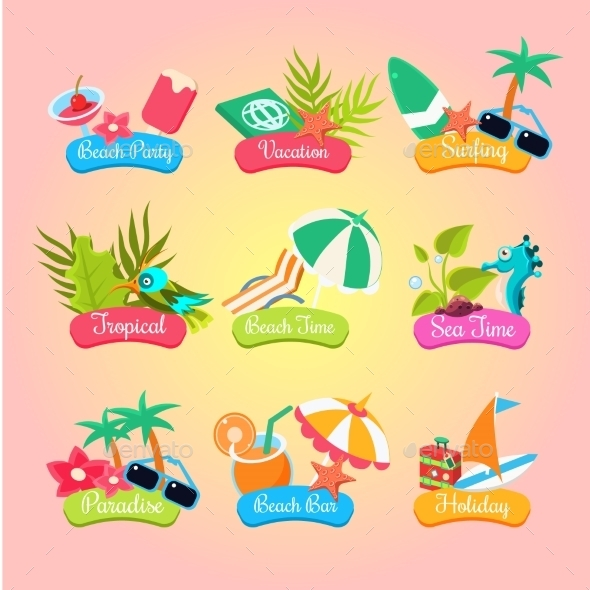 Summer Party Labels And Elements Set Isolated  - Miscellaneous Vectors