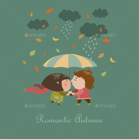 Boy and a Girl Kissing Under Umbrella - People Characters