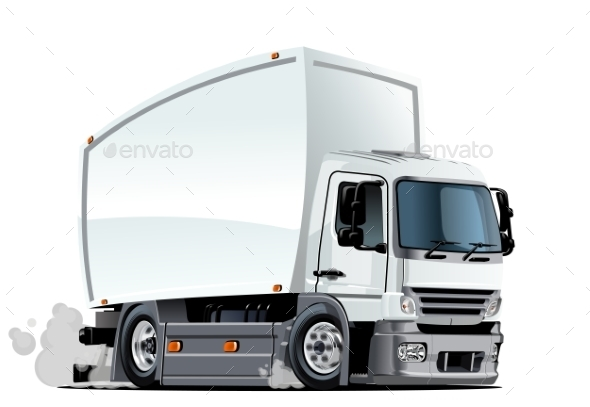 Cartoon Delivery or Cargo Truck - Man-made Objects Objects