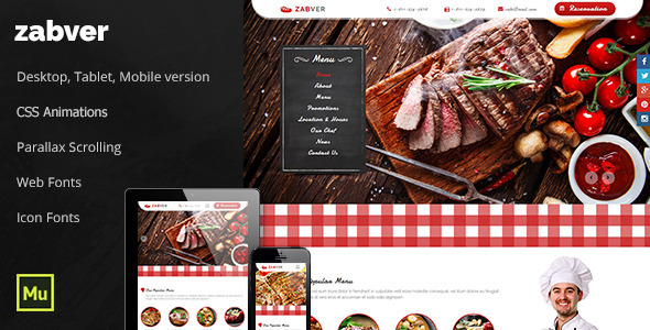Zabver – Steak & Grill Restaurant / Food Template