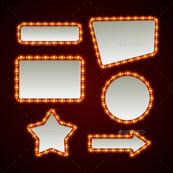 Set of Retro Light Frames - Web Elements Vectors