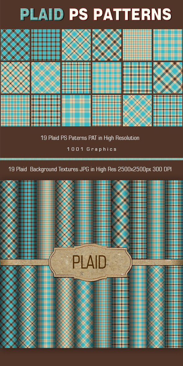 19 Plaid PS Patterns PAT  - Photoshop Add-ons