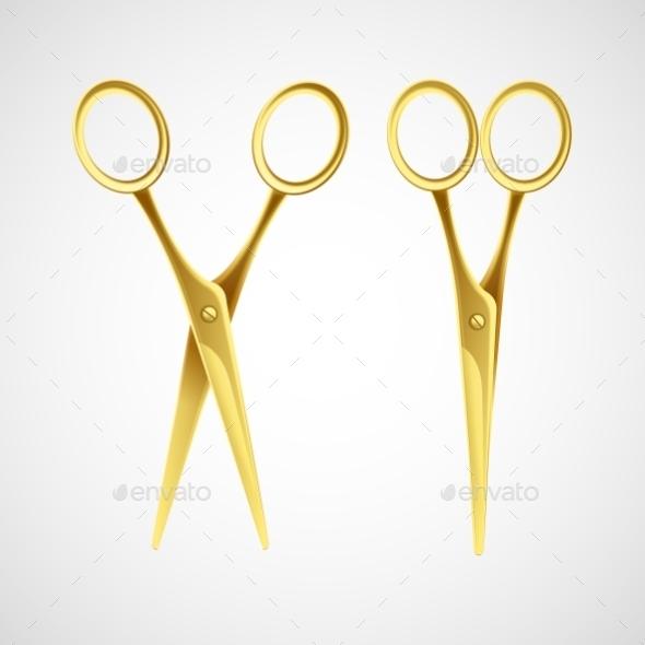 Gold Scissors Isolated In White Background. Vector - Decorative Symbols Decorative