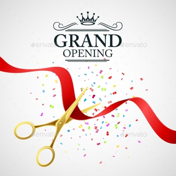 Grand Opening Illustration with Red Ribbon - Concepts Business
