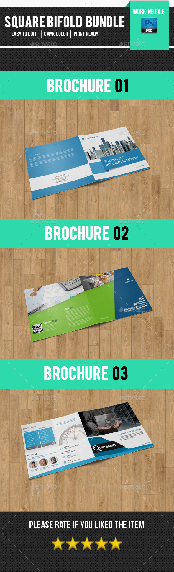 3 In 1 Square Brochure Bundle-V17 - Corporate Brochures