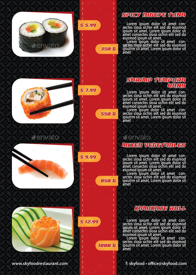 Sushi Menu Restaurant Flyer Template  By Min  Graphicriver