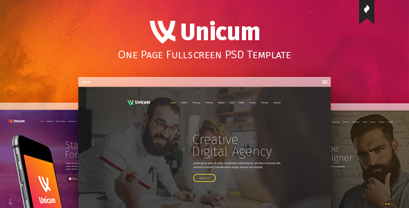 Unicum – One Page Fullscreen PSD Template