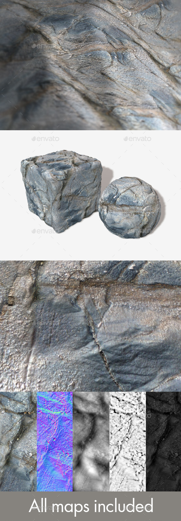 Grey Cracked Rock Seamless Texture - 3DOcean Item for Sale