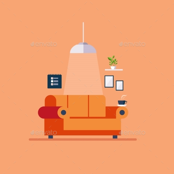 Living Room Flat Style - Man-made Objects Objects