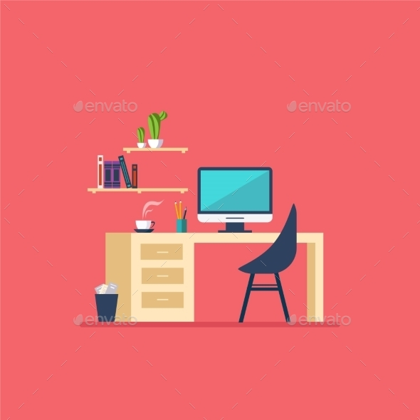 Workplace in Room Flat Minimalistic Style - Man-made Objects Objects