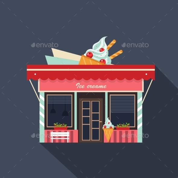 Restaurants and Shops Facade Storefront - Miscellaneous Vectors