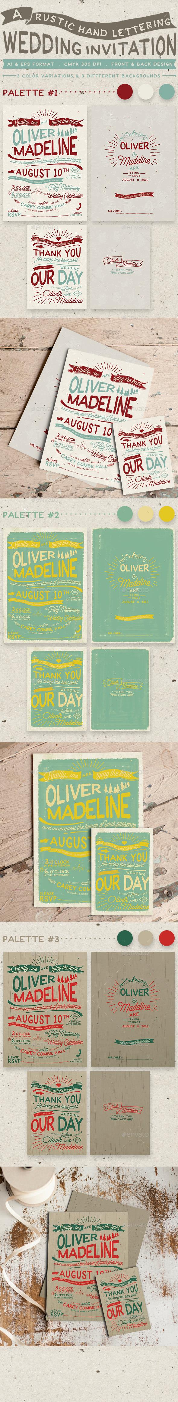 Rustic Hand Lettering Wedding Invitation - Weddings Cards & Invites