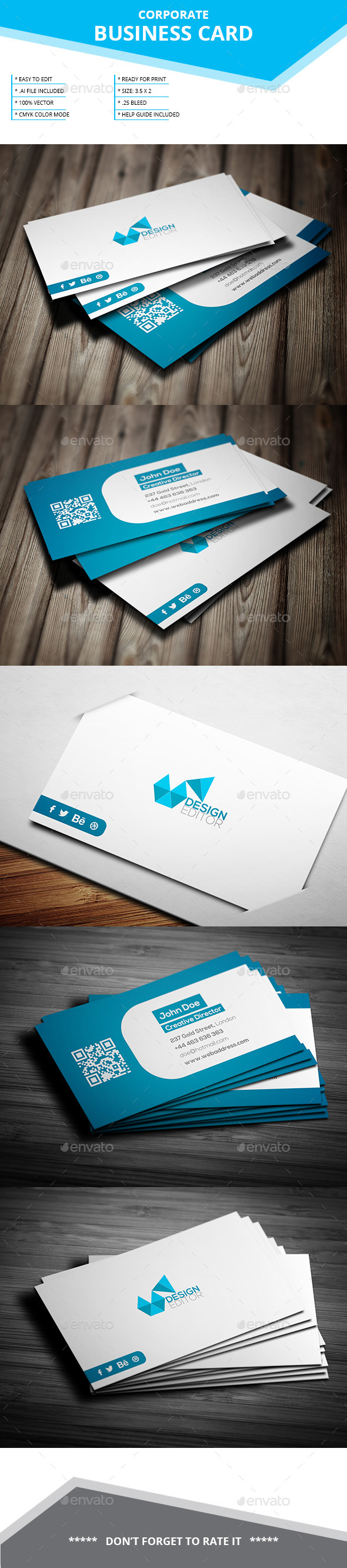 Corporate Business Card _ SL-19 - Business Cards Print Templates