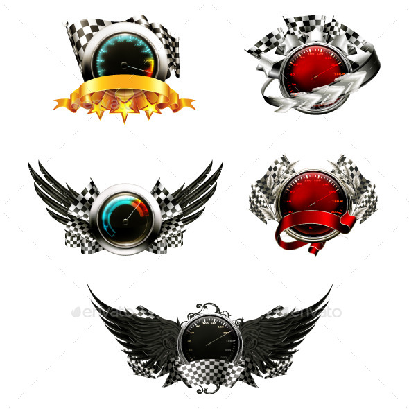 Racing Emblems Icons - Decorative Symbols Decorative