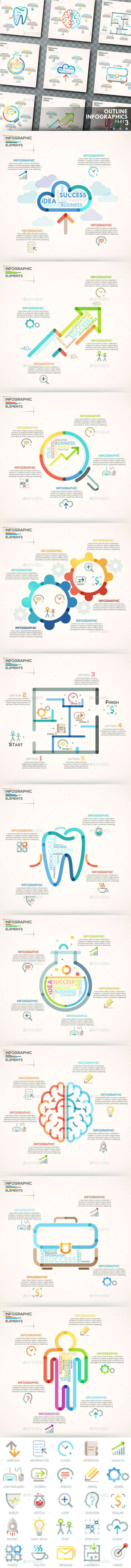 Outline Infographics. Part 3 (+25 Icons) - Infographics