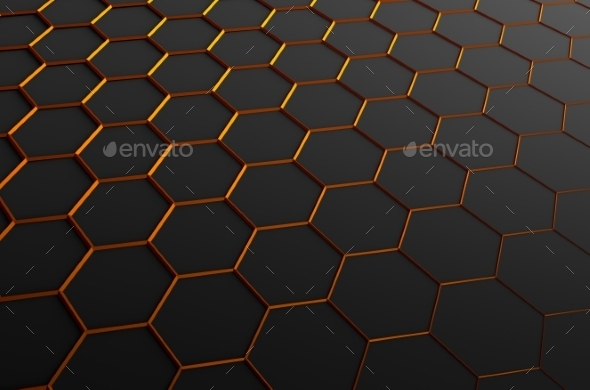 Abstract 3D Rendering Of Surface With Hexagons - Abstract 3D Renders
