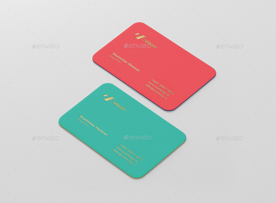 Business Card Mockup Round Corners by visconbiz | GraphicRiver