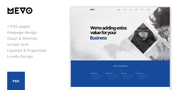 Mevo - One Page PSD Theme - PSD Templates