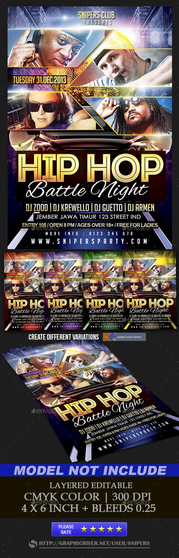 Hip Hop Battle Night - Events Flyers