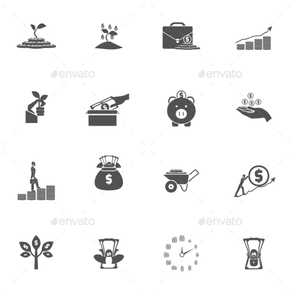 Investment Silhouette Icon Set - Miscellaneous Icons