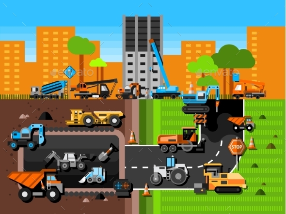 Construction Machines Composition  - Man-made Objects Objects