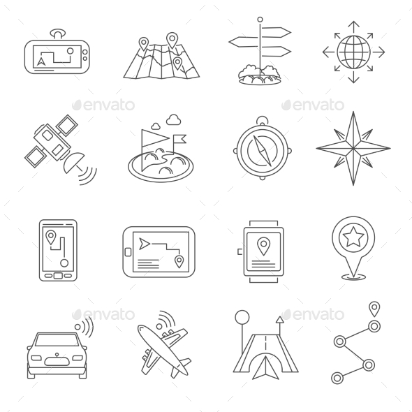 Location Outline Icon Set  - Objects Icons