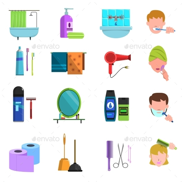 Personal Care Products Flat Icons Set - Man-made objects Objects