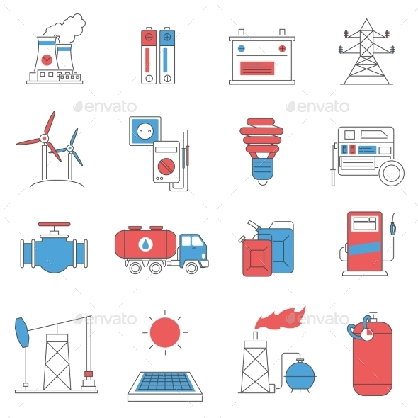 Energy Power Line Icons Set  - Technology Icons