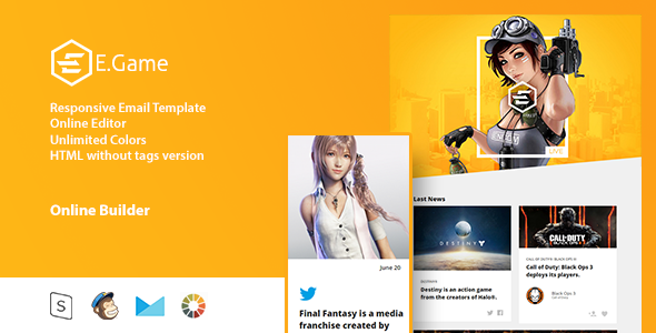 E.Game - Responsive Email Template + Online Editor - Email Templates Marketing