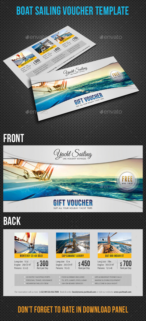 Yacht Sailing Boat Gift Voucher - Cards & Invites Print Templates