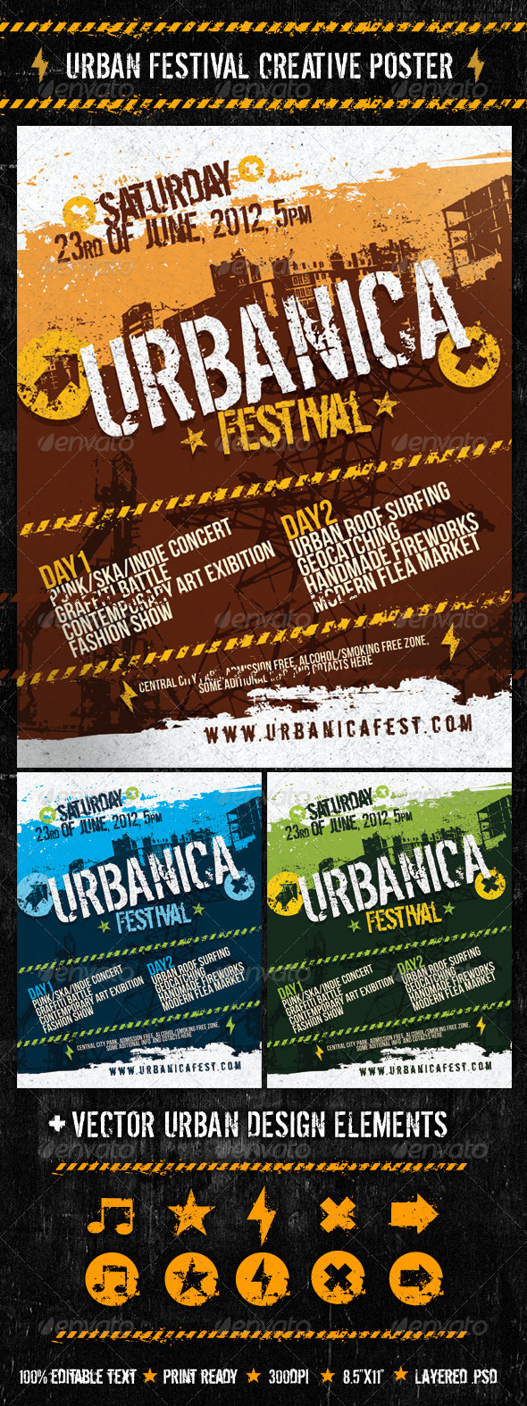 Urban Festival Creative Poster - Clubs & Parties Events
