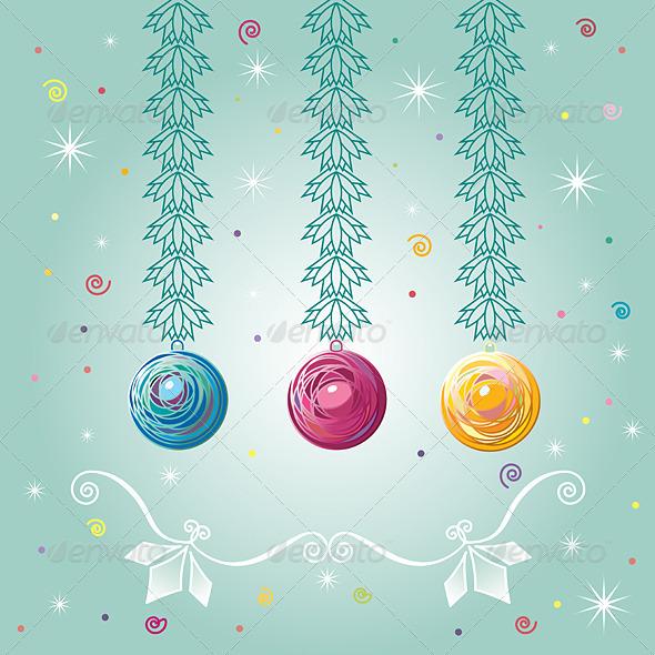 Three Christmas-tree Balls - Seasons/Holidays Conceptual