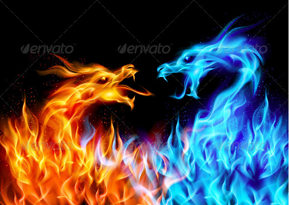 Blue and Red Fire Dragons - Vectors
