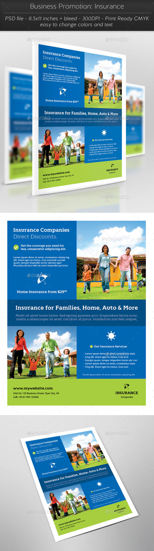 Business Promotion: Insurance - Flyers Print Templates