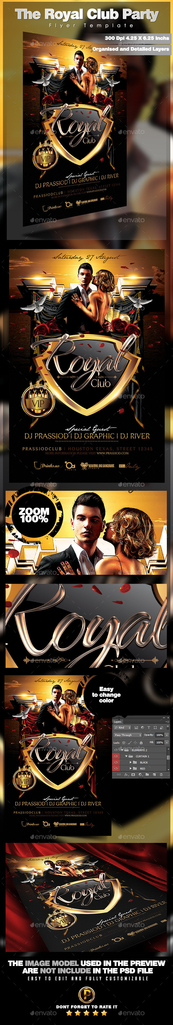 The Royal Club Party Flyer Template - Clubs & Parties Events