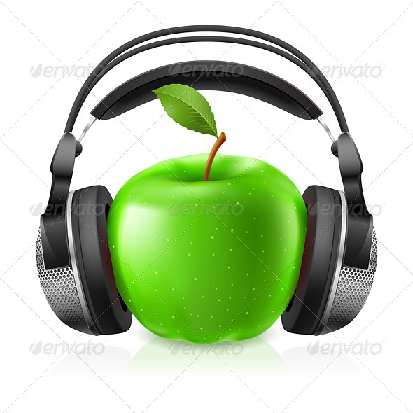 Realistic Headphones and Green Apple - Miscellaneous Characters