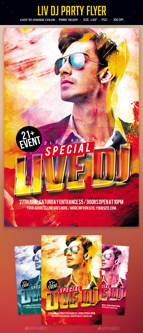 Live Dj Party Flyer - Clubs & Parties Events