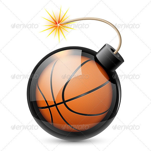 Abstract Basketball Shaped Like a Bomb - Sports/Activity Conceptual