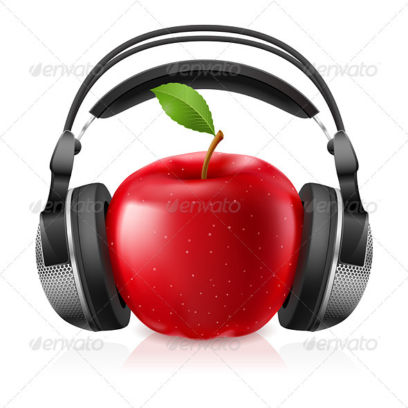 Realistic Computer Headset with Red Apple - Miscellaneous Characters