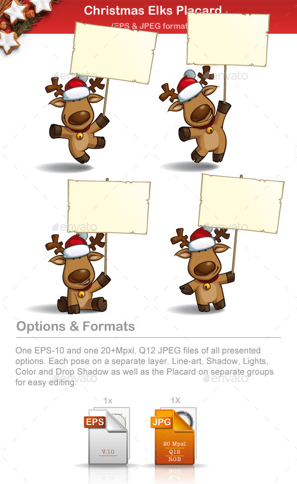 Christmas Elks - Placard - Christmas Seasons/Holidays