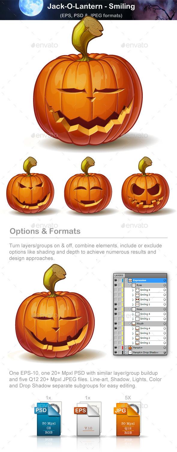 Jack-o-Lantern - Smiling - Halloween Seasons/Holidays